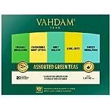 VAHDAM, Green Tea Sampler, 5 TEAS - Tea Variety Pack | Assorted Green Tea Bags | Organic Green Tea, Mint, Earl Grey, Chamomil