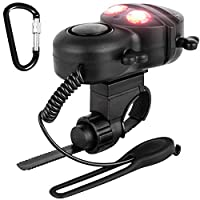 髑髏型 電動 バイクホーン D形カラビナ 付き FineGood 4モード サウンド スーパー大声 自転車ベル 赤い警告灯 子ども 大人 用 - ブラック