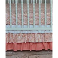 Lavender Linens Two Piece Coral,Peach and Gold Shimmer Crib Bedding by Lavender Linens