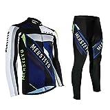 Mersteyo サイクルジャージ 半袖 長袖 選択可能 メンズ サイクルリング ウェア 自転車ウェア 上下セット 通気 吸汗速乾 サイクル ウェア 3D立体デザイン MST1343-M