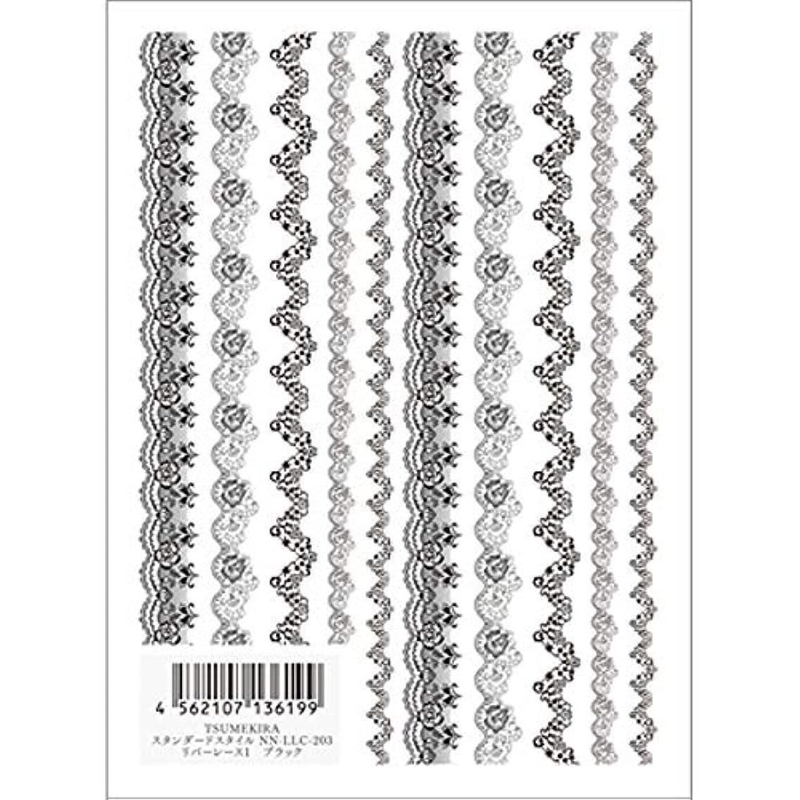 メキシコ債務繁栄するツメキラ(TSUMEKIRA) ネイル用シール リバーレース1 ブラック NN-LLC-203