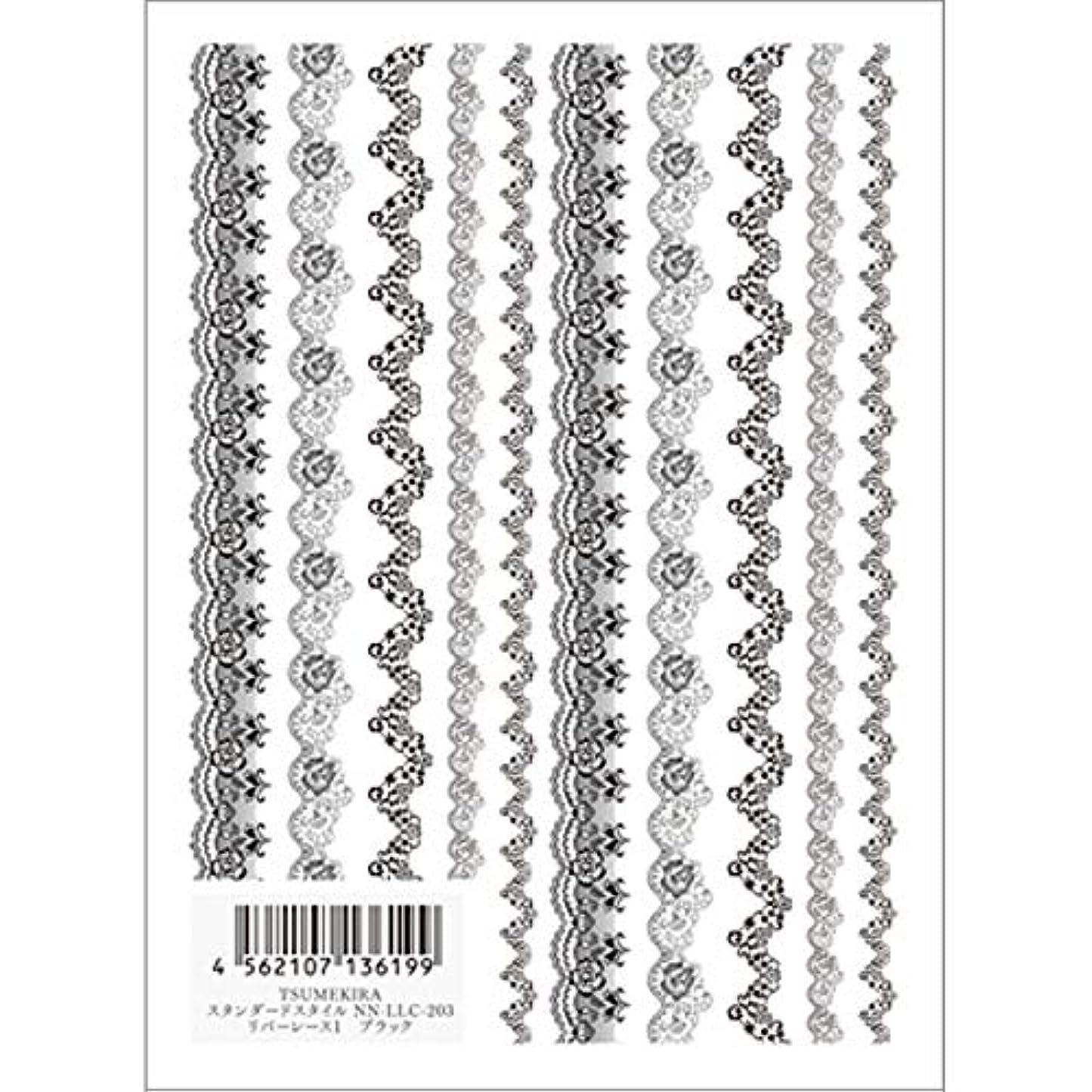 指紋ハードおもちゃツメキラ(TSUMEKIRA) ネイル用シール リバーレース1 ブラック NN-LLC-203