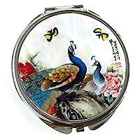 [孔雀 蝶 花 手鏡][Shell Art]螺鈿細工 水墨画のような孔雀と蝶と花 Mサイズ