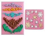 シリコンモールド 彫刻 モチーフ 型 手作り 石鹸 キャンドル レジン ハンドメイド (2個 セット(彫刻 ・結晶) )