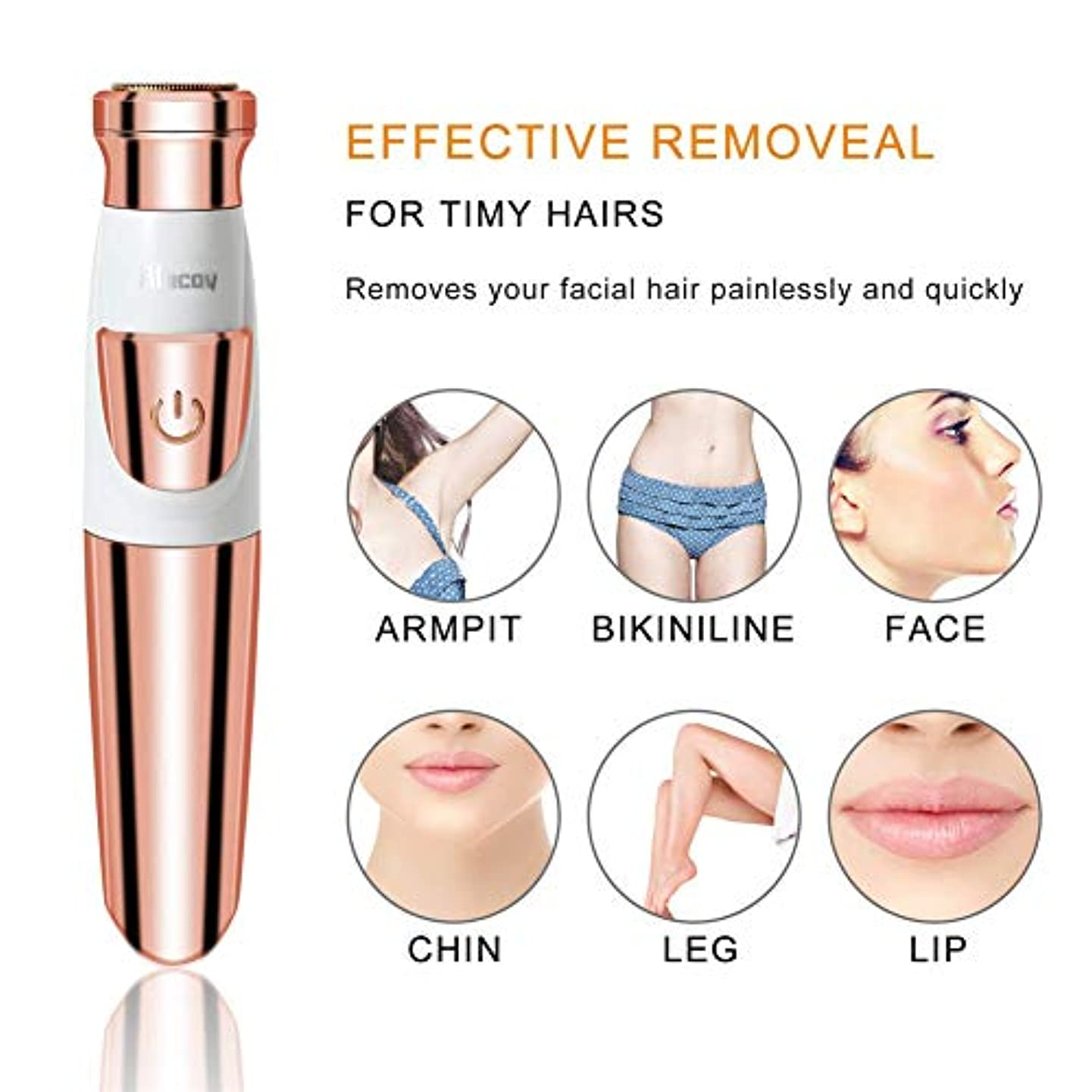 電気シェーバー、女性の痛みのない体の顔の電気シェーバー、USB充電式、女性のための脱毛剤