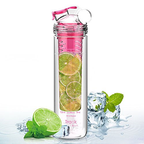 Artoid Mode 800ml 水筒 フルーツ デトックス インフューズ ウォーター スポーツ ウォーターボトル 時間マーカー 目盛り フィルター付き 直飲み BPAフリー プラスティック