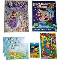 プリンセスカラーリングBook , Kids Grown Up Facesステッカーと学習活動Books、24-ctバンドルクレヨン