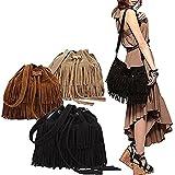 (モモデリ) MOMODELI ボヘミアン フリンジ ショルダー バッグ スエード 調 トレンド バック  / ブラウン ブラック ベージュ キャメル / フェイク スウェード 巾着 型 (ブラック 黒)