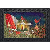 Cardinal Lantern Christmas Doormat Seasonal Birds Indoor Outdoor 18 x 30 [並行輸入品]