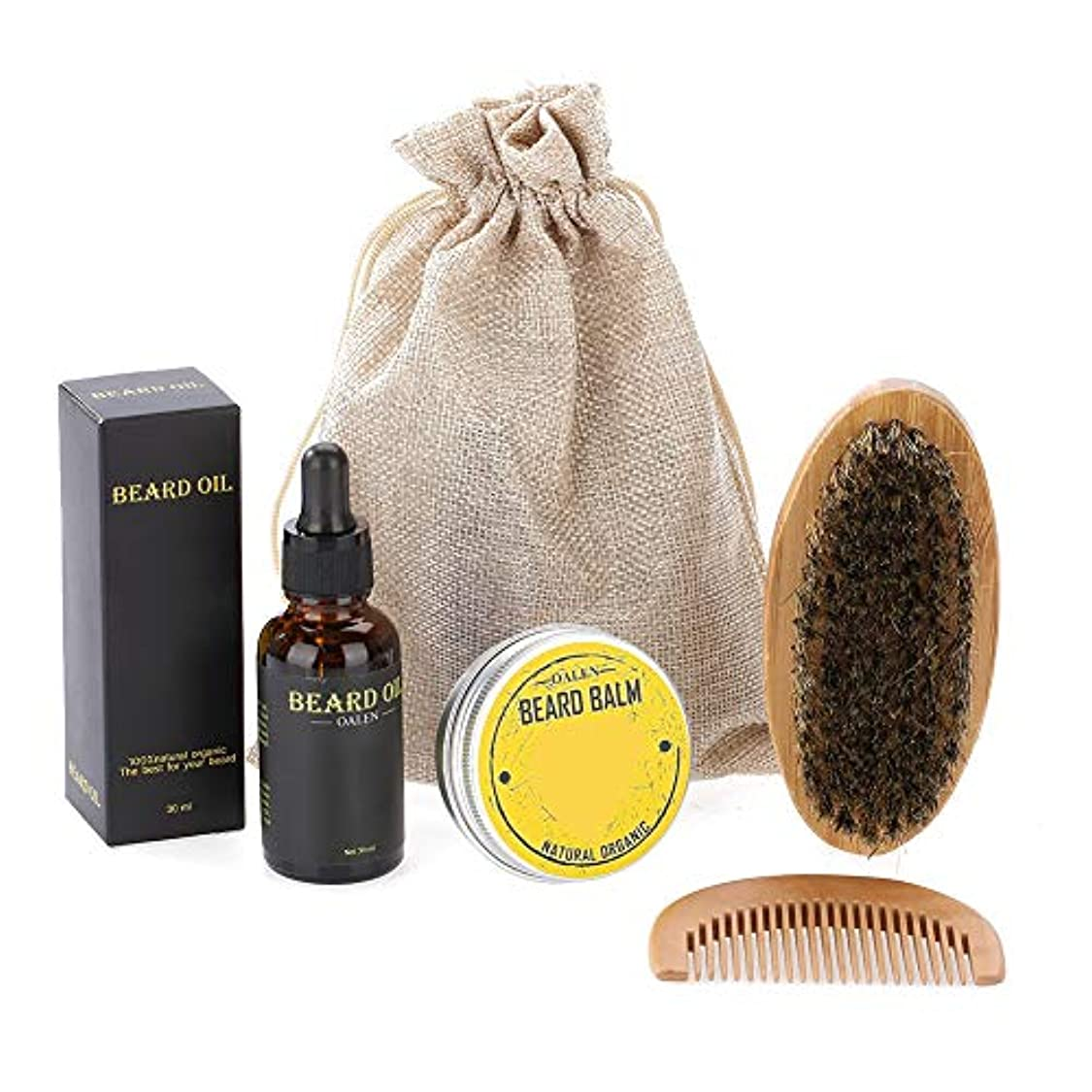 濃度ライン適切なひげコームクリームブラシオイルキット、プロのひげ保湿ケアツール