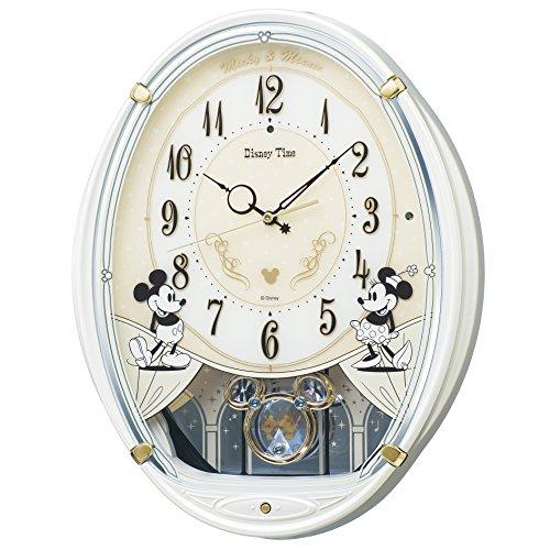 SEIKO CLOCK(セイコークロック) ディズニー ミッキーマウス 電波掛時計 プラスチック枠(白パール塗装) FW579W