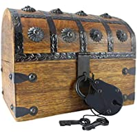 Well Pack Box Authentic Antique Style Wooden Pirate Treasure Chest Box with Black Hasp Latch Includes Master Padlock & Vintage Skeleton Keys