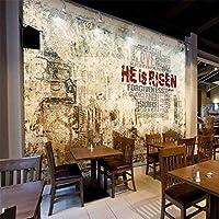 3D壁紙ノスタルジックなレトロ英語アルファベットカフェバーの壁紙壁紙の壁の装飾 220cm x 140cm