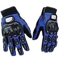 F.shion バイクグローブ オートバイ 手袋 サイクリング グローブ タッチパネル対応 耐衝撃 通気性(XL,青)
