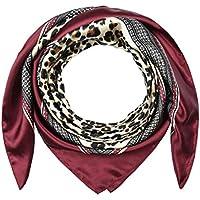 Large Square Satin Silk Like Lightweight Scarfs Hair Sleeping Wraps for Women Crimson Red Leopard Pattern