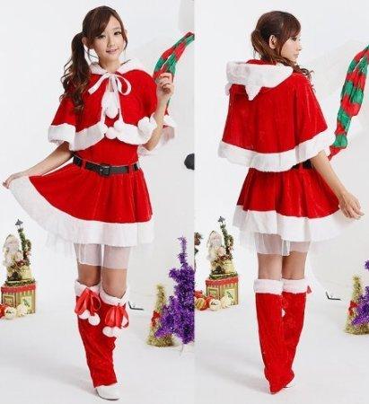 サンタ衣装 猫耳付 コスチューム レディース フリーサイズ