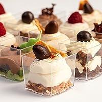 SALE ?Petits Desserts - Elegant Mini Desserts - Set of 36 Clear Color Plastic Dessert Cups 2 oz & 36 Clear Dessert Spoons by Petits Desserts
