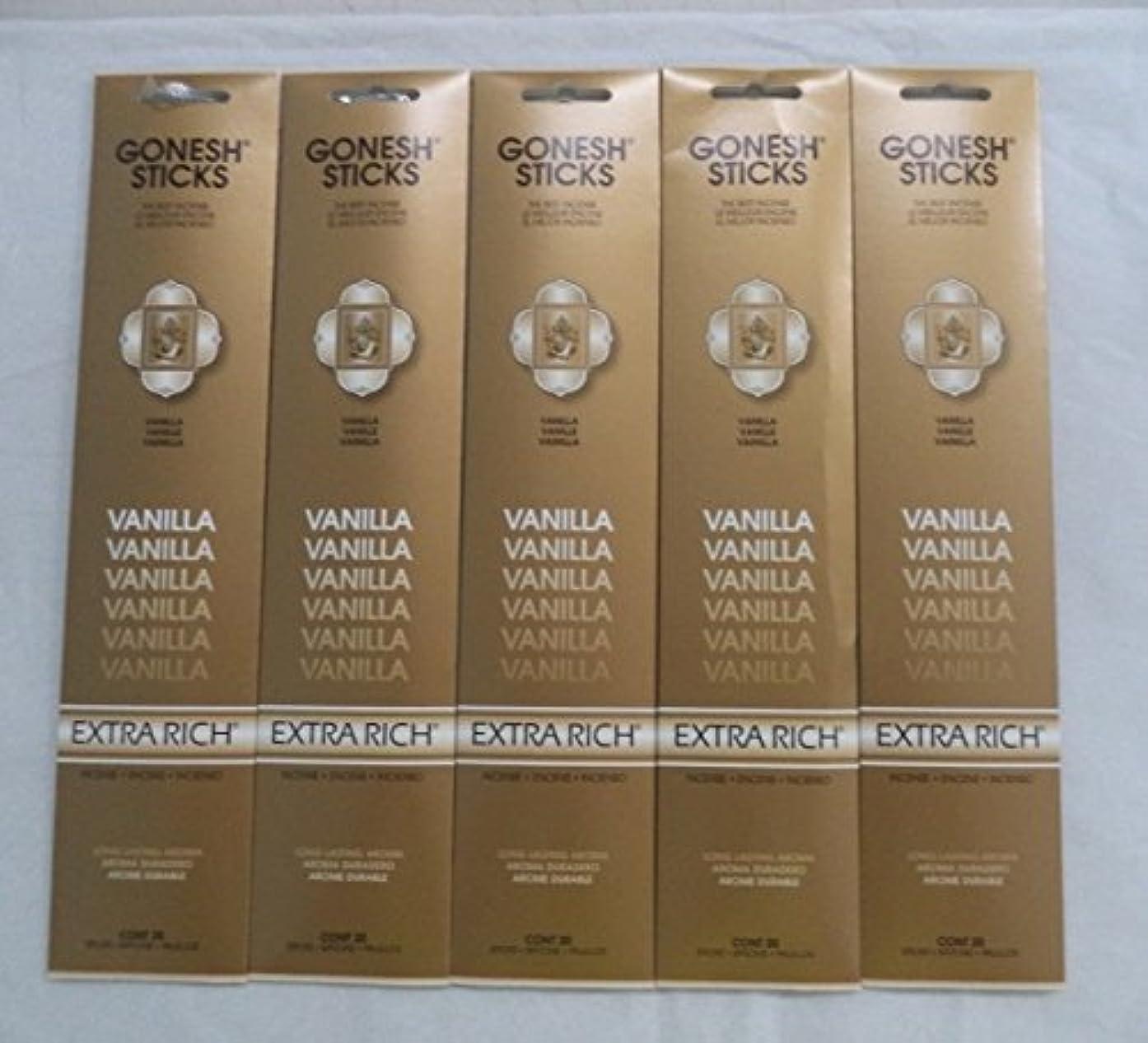 征服者不愉快受け取るGonesh Incense Sticks Extra Richコレクション – バニラ5パック(合計100 )