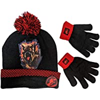 Marvel Jurassic World Beanie Winter Hat and Gloves Cold Weather Set, Age 5-13