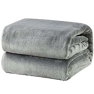 Bedsure 毛布 ブランケット シングル フランネル グレー おしゃれ 薄手毛布 プレミアムマイクロファイバー 140x200cm あったかい オールシーズン 柔らかく肌触り 洗える(ライト グレー)