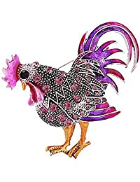 Trendy Statement Rooster Cock with Rhinestones Brooch Pins for Unisex Child/Women/Men's Clothing Decorate