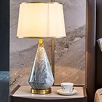ライト高級テーブルランプ北欧セラミックベッドサイドランプE27ヴィラのリビングルームのベッドルーム装飾テーブルランプ (色 : A)