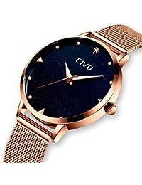 [チーヴォ]CIVO 腕時計薄型 レディース時計 アナログクオーツメッシュ防水ウオッチブルー シンプルデザイン ステンレススチール おしゃれ ファッション ビジネス カジュアル女性腕時計 ローズゴールド