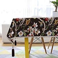 コットンリネン生地フラワーテーブルクロスリビングルームのテーブルマット家庭用コーヒーテーブルカバー長方形の洗えるテーブルクロス, C, 90*140cm