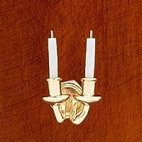 【Odoria ミニチュア雜貨】1/12 ろうそく燭台 ゴールデン ウォール ランプ ドールハウス