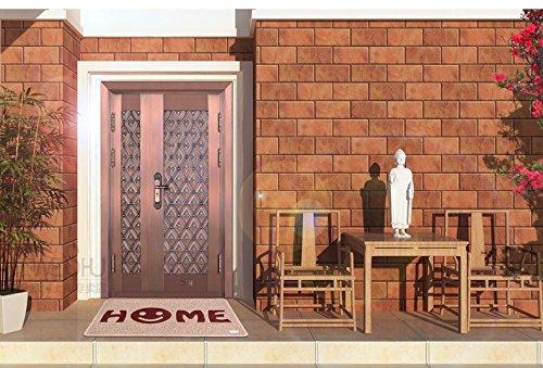 【ノーブランド品】オシャレなロゴ入り!! 玄関マット 60㎝×90㎝ ラグ 屋外用 エントランス スマイル (ベージュ(ボルドーロゴ入り)) ノーブランド品