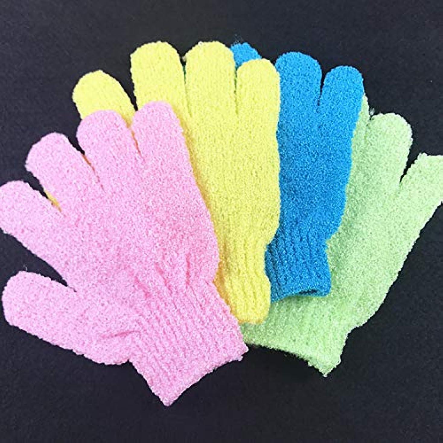 フィードバック模索ミンチお風呂用手袋 浴用手袋 角質除去 入浴用品 垢すり用グローブ 抗菌加工 泡立ち 男女兼用 5枚セット (色のランダム)