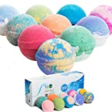 360Feel Bath Bombs Gift Set 10 Large USA made -Made with Essential Oil -All Natural Organic Bath Fizzies- Gift ready box - Aromatherapy Organic Bath Bomb for Women Men and Kids - Gift ready box