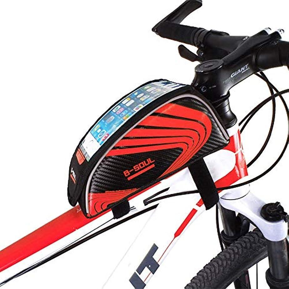 テレックスええ描写サイクリングフレームバッグ 自転車フレームバッグフロントチューブタッチスクリーン電話ケースは7インチ以下の電話にフィットしますバイクパニエバッグ 電話収納バッグ (Color : Red, Size : 21*9*10CM)