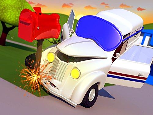 ポストカーのピーターが寝坊 & タクシーのジェレミーが風船を追いかけて事故にそして, レッカー車のトム, (子供向け)車&トラックの 建設アニメ