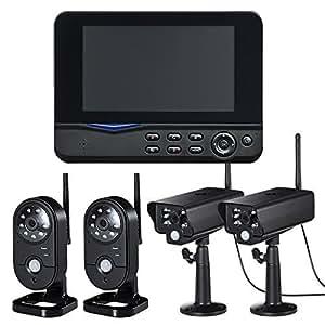 サンワダイレクト 防犯カメラ&モニターセット ワイヤレス 4台カメラセット 屋外 防水カメラ SDカード USBメモリ 録画 対応 監視 400-CAM035-4