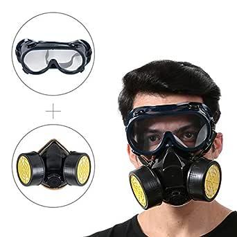 フィルター式防塵マスク 防毒マスク 塗装作業用マスクセット& 保護ゴーグル