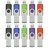 ARETOP USBフラッシュメモリ 4GB 回転式 10個パック ミックスグカラー(赤、緑、黒、青、紫) [並行輸入品]