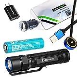 Bundle: Olight S2R Baton USB rechargeable 1020 Lumen CREE LED Flashlight, Rechargeable battery with EdisonBright brand USb AC &