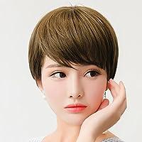(I-A-3136)  無造作感のある大人可愛いショートヘア ウィッグ 耐熱 ショート フルウィッグ エクステ つけ毛 (1.ブラック)