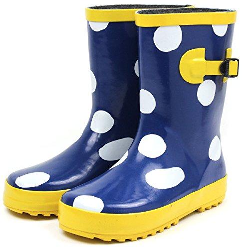 (セレブル) Celeble レインブーツ キッズ 女の子 男の子 ジュニア 長靴 雪 子供靴 ビッグドット ネイビー 18.0