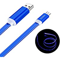 Micro USB 充電ケーブル, Welmor 光るUSBケーブル おしゃれ 高耐久 LEDライト データ転送 Samsung/Sony /Nexus/LG/Androidスマホ完全対応(1M,2カラー選択,ブルー)