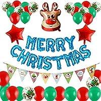 クリスマスバルーンメリークリスマスアルファベット風船箔バルーンデコレーションパーティーホームデコレーション用品 (Color : E)