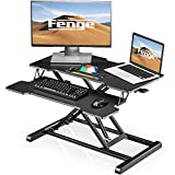 Computer Standing Desk Sit to Stand Up Converter Table with Keybroad Tray | 32'' Tabletop Workstation fit Dual Monitor Riser Black SD315001WB