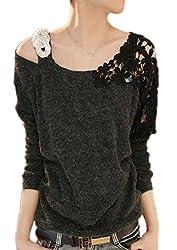 【Smile LaLa】 レディース トップス Tシャツ カットソー 花柄 長袖 レース シンプル カジュアル ブラック グレー ピンク ブルー