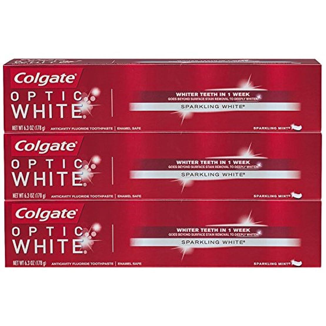 悩むチョコレート不注意コルゲート オプティック・ホワイト スパークリングミント 6.3oz (178g) 3個セット