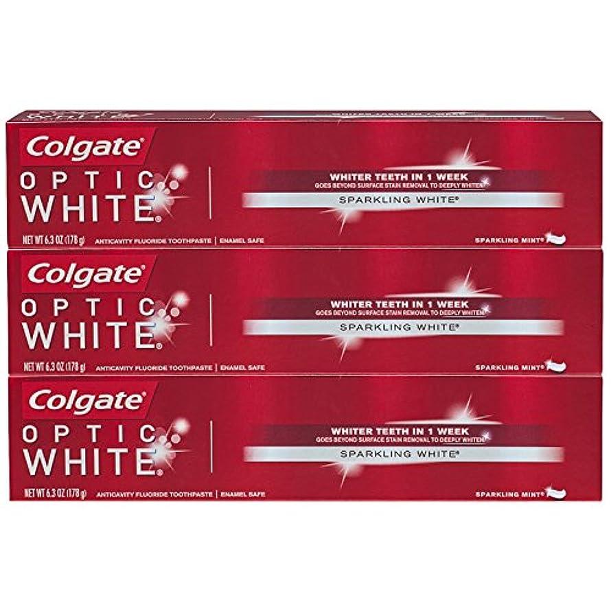ピック腹痛掃くコルゲート オプティック?ホワイト スパークリングミント 6.3oz (178g) 3個セット