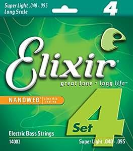 Elixir エリクサー ベース弦 NANOWEB ニッケル Long Scale Super Light .040-.095 #14002 【国内正規品】