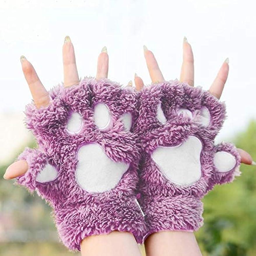 今晩酸素残酷BAJIMI 手袋 グローブ レディース/メンズ ハンド ケア 冬のラブリー漫画猫クローレディグローブ太いクイックDownlike足ハーフフィンガーグローブ 裏起毛 おしゃれ 手触りが良い 運転 耐磨耗性 換気性