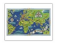 飛ぶ 世界 - R?seau A?rien Mondial (グローバルエアネットワーク) - ルート世界地図フライ - Planishpere - ビンテージな航空会社のポスター によって作成された ルシアン・ブーシェ c.1950 - アートポスター - 51cm x 66cm