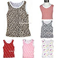 Pattern & Animal Print Multi-List Pettitop Tank Top Shirt for Kids Girls NB-8Y